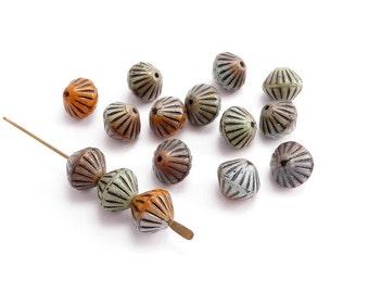 Orange Grey Bicone Czech Glass Beads, (15 pcs) 8x10mm Orange Bicone Beads, Grey Bicone Beads, Green Bicone Beads, Czech Bicone Beads BIC0008
