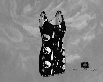 Black Wiccan Dress Cool, Wicca Art Print Dress, Tight Black Dress, Bodycon Dress Women with Black and White Wiccan Art Design, FREE SHIPPING