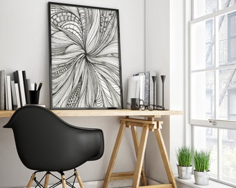 Wall Art Print Black And White Psychedelic Art Zentangle ArT Decorative Ink Drawing Doodles Unframed