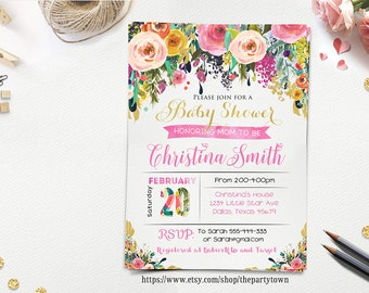 FLORAL BABY SHOWER Invitation, Watercolor Floral Invite, Flower Shabby Chic, Gold Glitter invitation, Girl Baby Shower,  Printable invite