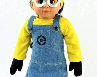 "Costume Minion Inspired Outfit Fits 18"" American Girl Doll Clothes 5pc"