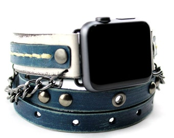 Blue and White Apple Watch Band, Leather apple watch band 38mm, Leather apple watch band 42mm, Apple Wrap Watch with gunmetal rivets