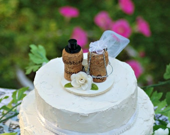 Champagne Cork Wedding Cake Topper