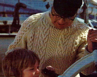 Captain's Fisherman Cable Sweater Vintage Knitting Pattern Download