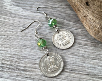 Indian coin earrings, 1963 25 Paise from India, 55th birthday gift, Ashok-Stambha, Ashoka's Pillar hippie jewelry boho present for her woman