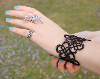 Black tatted wide lace bracelet Tatting Jewellery Cuff bracelet Goth Victorian Jewelry cuffs black jewelry Gift for women