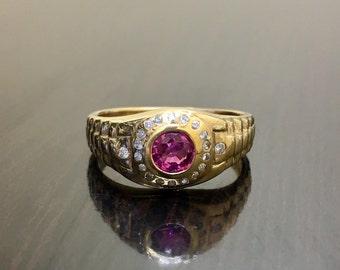 14K Yellow Gold Rolex Diamond Ruby Ring - 14K Gold Ruby Diamond Ring - 14K Ruby Diamond Rolex Ring - 14K Gold Ruby Ring - Rolex Ruby Ring