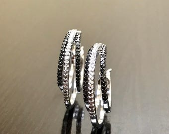 Diamond Earrings - Black Diamond Hoop Earrings - Diamond Black White Diamond Hoops - Silver Diamond Modern Earrings - Diamond Silver Hoops