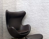 Leather Egg Chair and Ottoman Footstool Arne Jacobsen Inspired Retro Mid Century Style