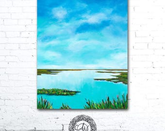 Blue Water Painting, Colorful Landscape Painting, Colorful Wall Art, Coastal Landscape, Coastal Decor, Marsh Painting, Blue Sky Painting