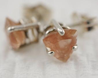 Pink Trillion Oregon Sunstone Stud Earrings