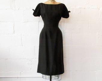 Late 1950s Black Wiggle Dress // 50s Black Saks Dress // Vintage 1950s LBD Dress