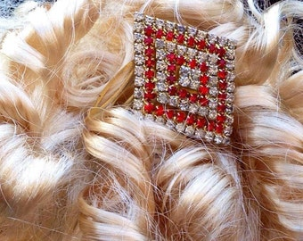 Vintage Art Deco Red And Clear Paste Claw Set Hair Slide - Diamante Hair Comb, Hair Accessory, Hair Jewellery