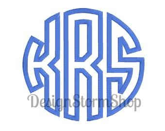 6 Sizes/Circle Monogram Font Applique Design/Satin Stitch/Machine Embroidery/Instant Digital Download