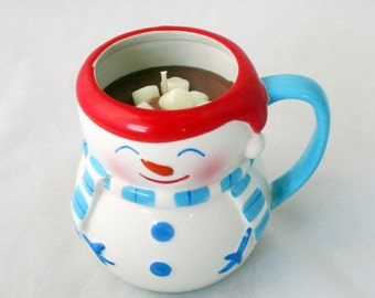 Snowman candle, hot cocoa candle, christmas mug, large snowman, snowman mug, gift candle, container candle, holiday candle
