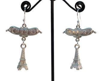 Eiffel Tower, Bebe Earrings, Paris Earrings, France, Parisian, French Jewelry, Landmark Jewelry, Pewter Earrings Silver Earrings Lightweight