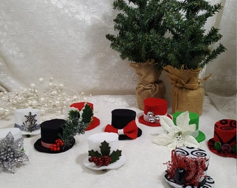 Winter and Holiday Teeny Tiny Top Hat Party Favors, Snowman Hat, Ugly Sweater Party Hat, Christmas Hat, Party Hat, Tiny Top Hat Hair Clip