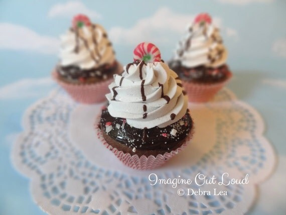 Fake Cupcake Realistic Christmas Holiday Candy Cane Peppermint Faux Ornament Cherry
