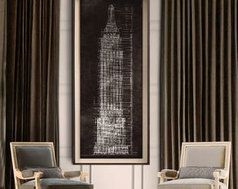 Empire State Building Blueprint : Vintage rustic New York City Empire State Building Blueprint poster print 1931 Giclee Print
