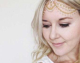 Boho headpiece, bridal head chain, boho headchain, bohemian jewelry, jewellery, haur accessories, Swarovski crystal, gold forehead chain