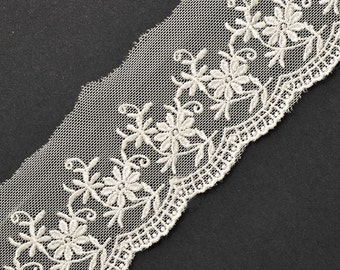 Embroidered tulle lace trim, 2-1/4 Inch by 2-Yards, Ivory, TR-11208