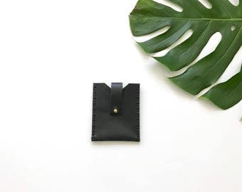 Large Black Business Card Holder with Latch