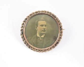 Large Victorian Antique Photo Brooch Pin Vintage Estate Jewelry