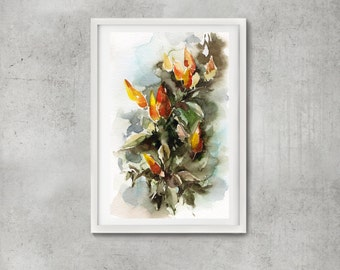 Watercolor painting of Ornamental Peppers, Abstract realism painting, ORIGINAL Painting