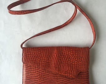 90s IUV Made in Slovenia Leather Snake Style Orange Retro Fashion purse glam rock minimal chic party long strap shoulder bag, opera clutch