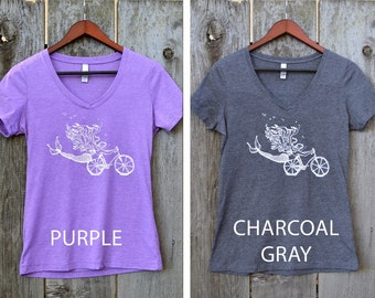 Mermaid shirt /  Women's bike mermaid v neck / gray / purple