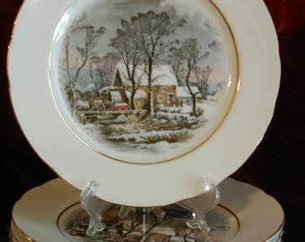Four Vintage Avon Representative Award Plates . Currier & Ives, Old Grist Mill (1977)