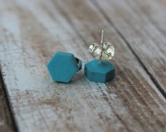Dark Turquoise Hexagon Stud Earrings- Clay