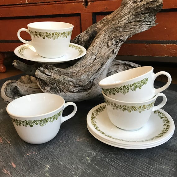 70's Corelle Spring Blossom Tea Cups and Saucers