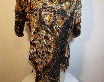 FREE  SHIPPING  Couture Sequin Bead Blouse