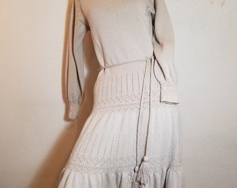 FREE  SHIPPING  1970 Knit Crochet Dress