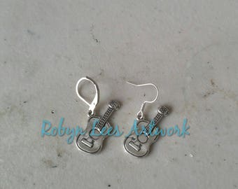 Small Flat Silver Guitar Charm Earrings on Earring Hooks or Leverbacks. Acoustic, Music, Band, Costume