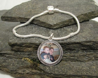 20mm Round Custom Photo Bracelet, Charm Bracelet, Personalized Bracelet