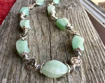 Mint Green Necklace Aventurine Stone Bali Style Pewter Sterling LN172
