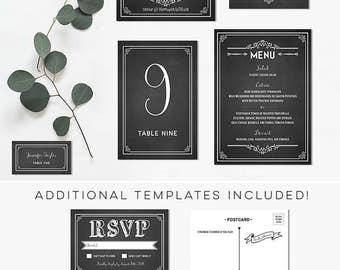 Printable Chalkboard DIY Rustic Wedding Invitation Set