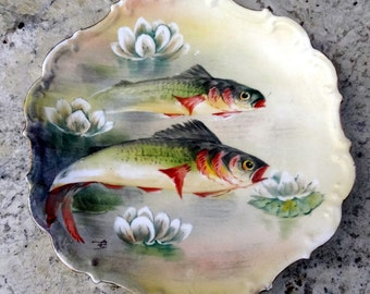 French Limoges LDBC Flambeau, Signed Hand Painted Fish Plate, Decorative Fish Plate, Hanging Limoges Fish Plate, 1900, Collectors Plate