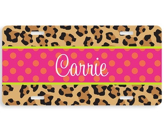 License Plate, Car Tag Personalized, Personalized License Plate, Vanity Plate, Monogrammed Car Tag, Personalized Car Tag, Leopard Pop Pink