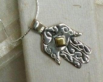 Traditional Israeli Style Hamsa Pendant