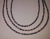 Gray and amethyst seed bead necklace your choice of sizes  - grey and purple seed bead necklace