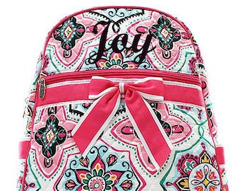 Monogrammed Pink Medallion Quilted Backpack  Personalized Quilted Backpack  Backpack