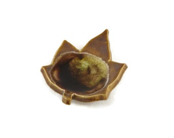 Leaf Dish - Crackle Dish - spoon rest - incense holder - autumn color - brown and tan