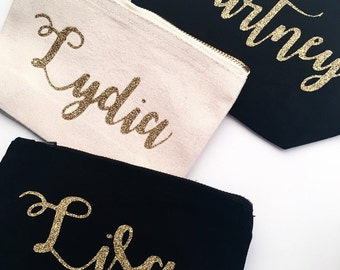Personalised Makeup and Cosmetic Bag/Storage or for use as a pencil case - gold glitter