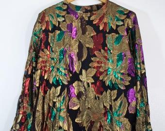80'S STATEMENT METALLIC BLOUSE   Ladies Multi-Color Retro Vintage Blouse / Top / Shirt
