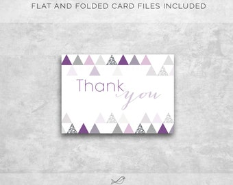 Instant Download! Modern Bridal/Baby Shower Thank You Card, Purple, Silver (Flat and Folded)