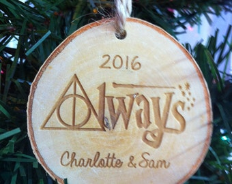Harry Potter Always Couples Personalized First Names Christmas Wood Slice Christmas Ornament Made in the USA