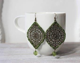 Olive Green Antique Bronze Medallion Crochet Earrings